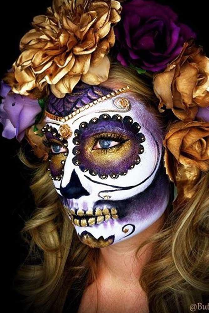 33 Simple Sugar Skull Makeup Looks 2018 Diy Halloween Makeup Ideas Juelzjohn