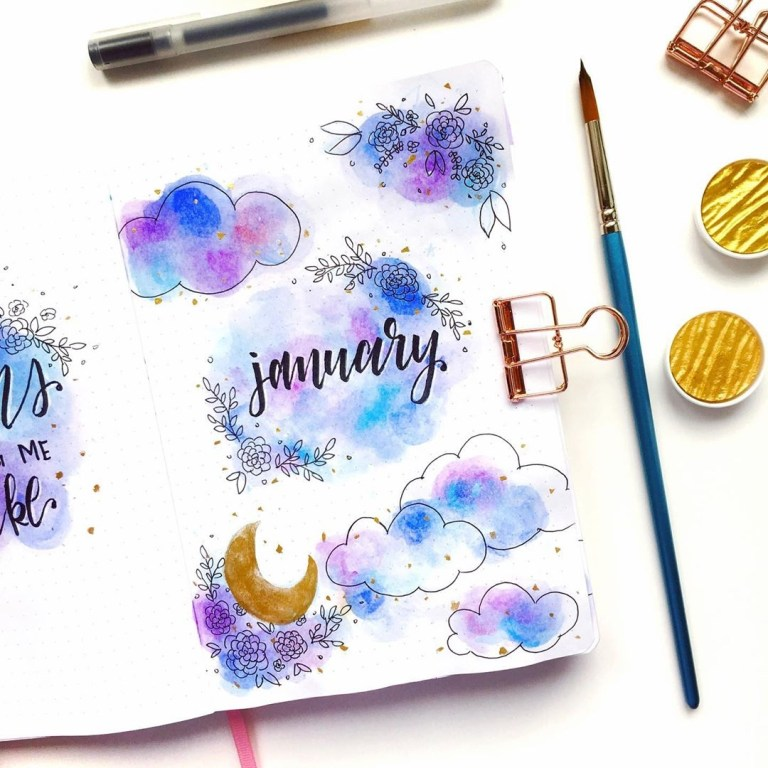 January bullet journal cover spreads