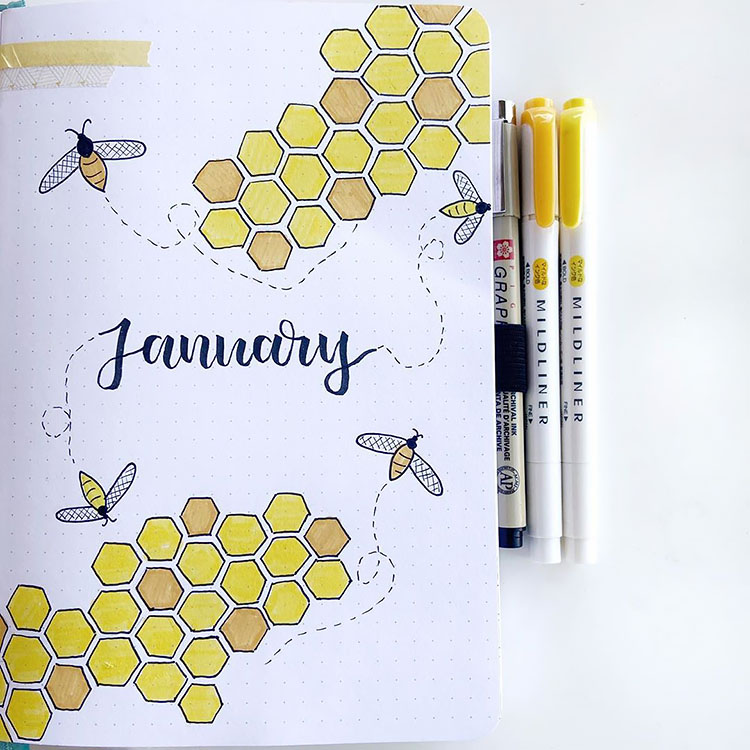 monthly bullet journal cover ideas for January