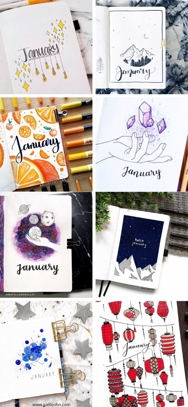 January bullet journal spreads